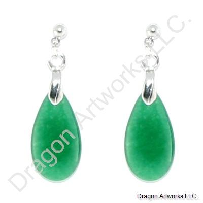 Chinese Green Jade Drop Earrings