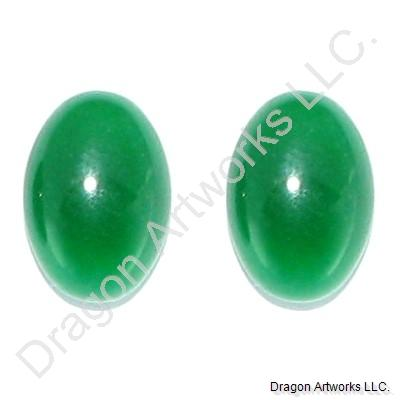Oval Shaped Emerald Green Jade Earrings