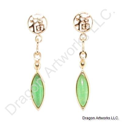 Gold-Plated Good Fortune Green Jade Earrings