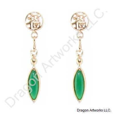 Gold-Plated Dark Green Jade Earrings